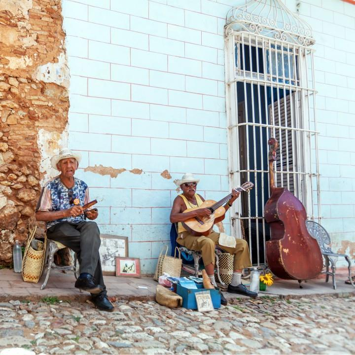 Trinidad, Cuba – March 30, 2012: street music band of four aged men